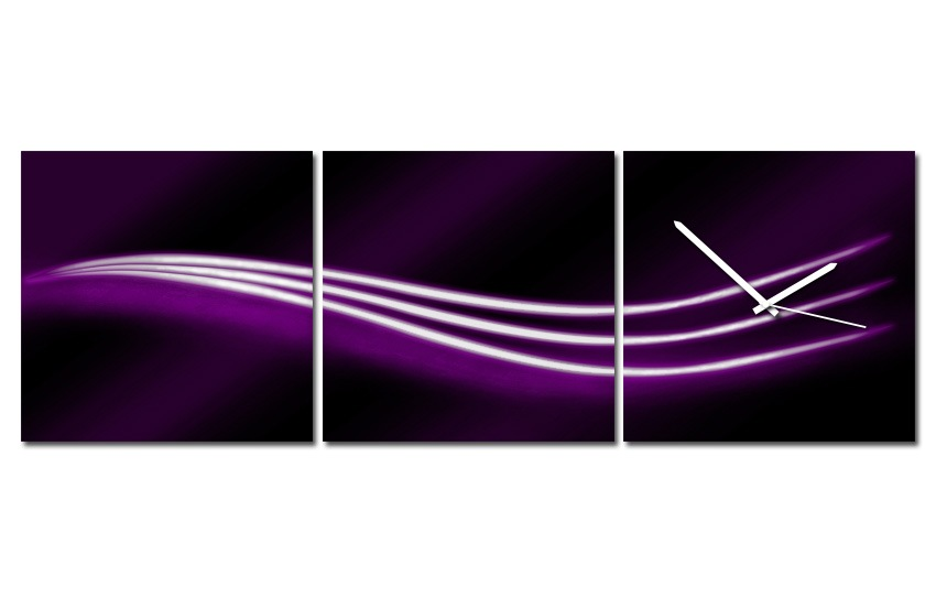 Hodiny na plátně - Tři vlnky fialové