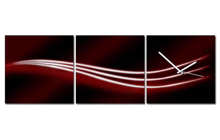 Hodiny na plátně - Tři vlnky červené