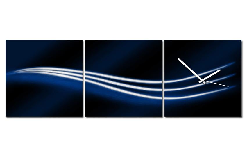 Hodiny na plátně - Tři vlnky modré